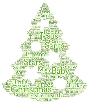 Tree of Christmassy words, (made with Tagul software)